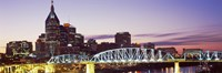 Skylines and Shelby Street Bridge at dusk, Nashville, Tennessee, USA 2013 Fine Art Print