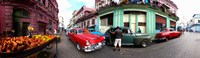 360 degree view of old cars and fruit stand on a street, Havana, Cuba Fine Art Print