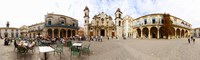"""People at Plaza De La Catedral, Cathedral of Havana, Havana, Cuba by Panoramic Images - 40"""" x 12"""" - $34.99"""
