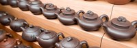 """Display of Chinese teapots, Chinatown, Singapore by Panoramic Images - 34"""" x 12"""", FulcrumGallery.com brand"""