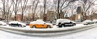 """Snow covered cars parked on the street in a city, Lower East Side, Manhattan, New York City, New York State, USA by Panoramic Images - 30"""" x 12"""""""