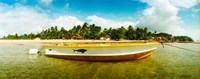 """Small wooden boat moored on the beach, Morro De Sao Paulo, Tinhare, Cairu, Bahia, Brazil by Panoramic Images - 30"""" x 12"""""""