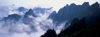 High angle view of misty mountains, Huangshan Mountains, Anhui Province, China Fine Art Print