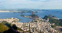 "High angle view of the city with Sugarloaf Mountain in background, Guanabara Bay, Rio De Janeiro, Brazil by Panoramic Images - 22"" x 12"""