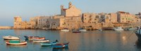 "Buildings at the waterfront with boats at harbor, Giovinazzo, Puglia, Italy by Panoramic Images - 33"" x 12"""