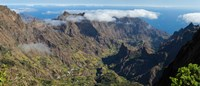"High angle view of valley with mountains, Santo Antao, Cape Verde by Panoramic Images - 28"" x 12"""