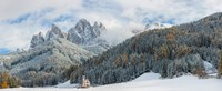 "Little church at the snowy valley in winter, St Johann Church, Val di Funes, Dolomites, Italy by Panoramic Images - 29"" x 12"""