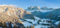 "Snowy valley in winter, St. Magdalena, Geisler Spitzen, Val di Funes, Dolomites, Trentino-Alto Adige, South Tyrol, Italy by Panoramic Images - 25"" x 12"""