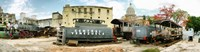 """Old trains being restored, Havana, Cuba by Panoramic Images - 46"""" x 12"""", FulcrumGallery.com brand"""