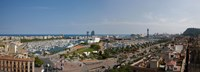 """High angle view of a harbor, Port Vell, Barcelona, Catalonia, Spain by Panoramic Images - 33"""" x 12"""""""