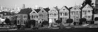"""Black and white view of The Seven Sisters, Painted Ladies, Alamo Square, San Francisco, California by Panoramic Images - 37"""" x 12"""", FulcrumGallery.com brand"""
