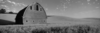 Black and White view of Old barn in a wheat field, Washington State Fine Art Print
