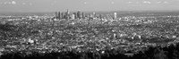 """Black and White View of Los Angeles from a Distance by Panoramic Images - 36"""" x 12"""", FulcrumGallery.com brand"""