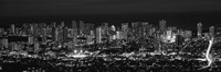"""High angle view of a city lit up at night, Honolulu, Oahu, Honolulu County, Hawaii (black and white) by Panoramic Images - 36"""" x 12"""" - $34.99"""