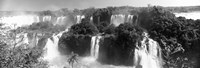 """Floodwaters at Iguacu Falls in black and white, Brazil by Panoramic Images - 35"""" x 12"""" - $34.99"""