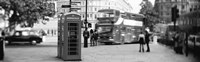 Phone Box, Trafalgar Square, England (black and white) Fine Art Print