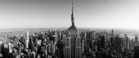 Aerial view of a cityscape, Empire State Building, Manhattan, New York City, USA (black & white) Fine Art Print