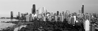 Skyline with Hancock Building and Sears Tower, Chicago, Illinois (black & white) Fine Art Print