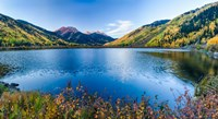 Crystal Lake surrounded by mountains, Ironton Park, Million Dollar Highway, Red Mountain, San Juan Mountains, Colorado, USA Fine Art Print