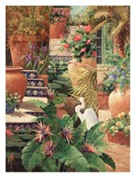 Floral Fractal with Egret Fine Art Print