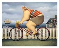 """Mary's New Bike by Lowell Herrero - 32"""" x 26"""""""