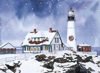 Lighthouse In Winter Fine Art Print