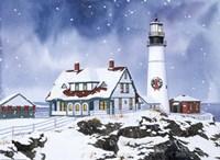 Lighthouse In Winter Fine Art Print