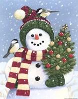 Snowman Holding A Christmas Tree Fine Art Print