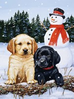 Lab Puppies With Snowman Fine Art Print