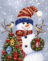 Snowman With Wreath Fine Art Print