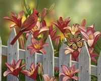 Cardinal and Lilies by William Vanderdasson - various sizes, FulcrumGallery.com brand