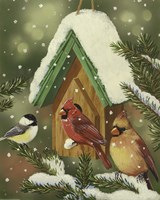 Snowy Birdhouse Fine Art Print