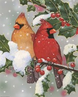 Cardinal Couple With Holly by William Vanderdasson - various sizes, FulcrumGallery.com brand