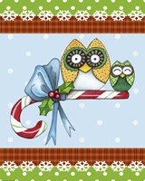 Candy Cane Owls Flag by Jennifer Nilsson - various sizes, FulcrumGallery.com brand