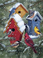 Winter Birdhouses Fine Art Print