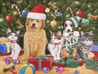 Puppies & Kittens Christmas Fine Art Print