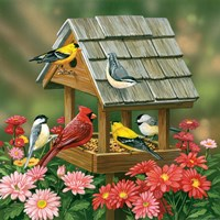 Backyard Birds Fall Feast Fine Art Print