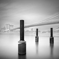 3 postes en Brooklin bridge Fine Art Print
