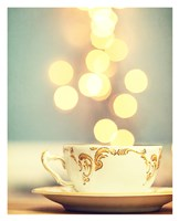 Tea Cup in Cold Bokeh Framed Print
