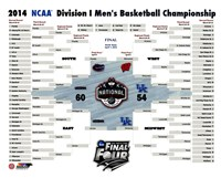 University of Connecticut Huskies 2014 NCAA Men's College Basketball National Champions Bracket Fine Art Print