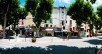 Stores closed during lunch hour along the Rue Du Marche, Riez, Alpes-de-Haute-Provence, Provence-Alpes-Cote d'Azur, France by Panoramic Images - various sizes - $48.99