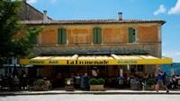 Tourists at a restaurant, Avenue de la Promenade, Sault, Vaucluse, Provence-Alpes-Cote d'Azur, France by Panoramic Images - various sizes