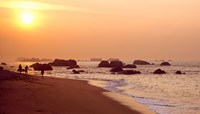 Sunset over the beach, Brignogan-Plage, Finistere, Brittany, France by Panoramic Images - various sizes