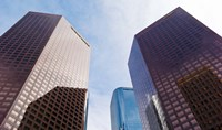 Low angle view of skyscrapers, Wells Fargo Center, California Plaza, Los Angeles, California, USA by Panoramic Images - various sizes