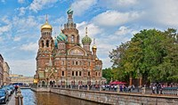Church in a city, Church Of The Savior On Blood, St. Petersburg, Russia Fine Art Print