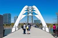 People strolling on Humber Bay Arch Bridge, Toronto, Ontario, Canada Fine Art Print