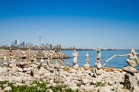 Rock stacks with skylines in the background, Toronto, Ontario, Canada 2013 Fine Art Print