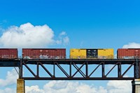 Freight train passing over a bridge, Ontario, Canada by Panoramic Images - various sizes