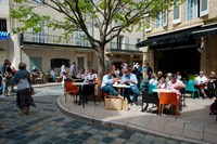 Tourists at sidewalk cafes, Lourmarin, Vaucluse, Provence-Alpes-Cote d'Azur, France by Panoramic Images - various sizes - $54.99