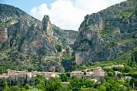 Village at mountainside, Moustiers-Sainte-Marie, Alpes-de-Haute-Provence, Provence-Alpes-Cote d'Azur, France by Panoramic Images - various sizes